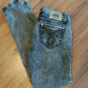 L.A. Idol Black Wash Denim Skinny Rhinestone Jeans